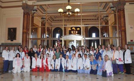 The nurses posed for a group shot outside Gov. Quinn's office.