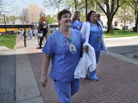 Laurie Riek arrives at the Illinois State Capitol for her 5th consecutive year attending Nurse Advocacy Day.
