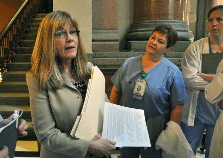 State Senator Melinda Bush listened to the concerns of the nurses.